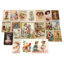 Advertising trade card & booklets (20 pcs), most w/children, some w/animals, includes Hires, Hoyt's