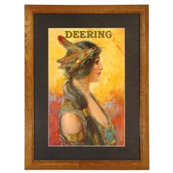 Deering litho on paper sign w/Indian princess, c.1908 by Hayes Litho Co.-Buffalo, NY, very colorful,