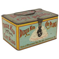 Black Americana, Dixie Kid Cut Plug tobacco tin lunch box w/Black baby graphics, mfgd by Nall & Will