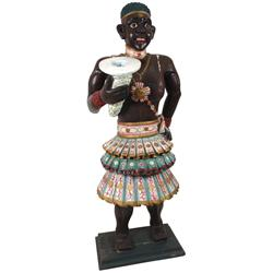 Black Americana Folk Art, carved wooden Nubian figure, highly detailed & well executed w/colorful pa
