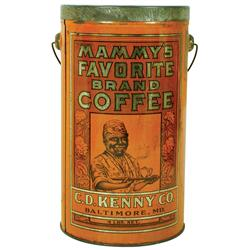 Black Americana, Mammy's Favorite Brand Coffee pail, C.D. Kenny Co.-Baltimore, MD, held 4 lbs, great