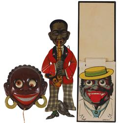 Black Americana toys (3), litho on tin Black man saxophone player w/cymbals, eyes roll & feet & arms