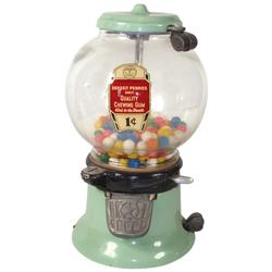 Coin-operated gumball vendor, Columbus M, green porcelain, 2 orig barrel locks, c.1930, Exc orig con