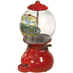 Coin-operated gumball machine, Bluebird, 1 Cent, c.1915, painted aluminum w/glass globe & orig 1 Cen