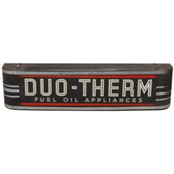 "Duo-Therm Fuel Oil Appliances light-up sign, Deco style, needs new cord, o/wise VG cond, 7""H x 27""W."
