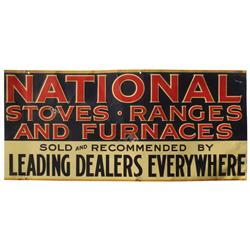 National Stoves, Ranges & Furnaces embossed metal dealer sign, litho by American Art Works-Coshocton