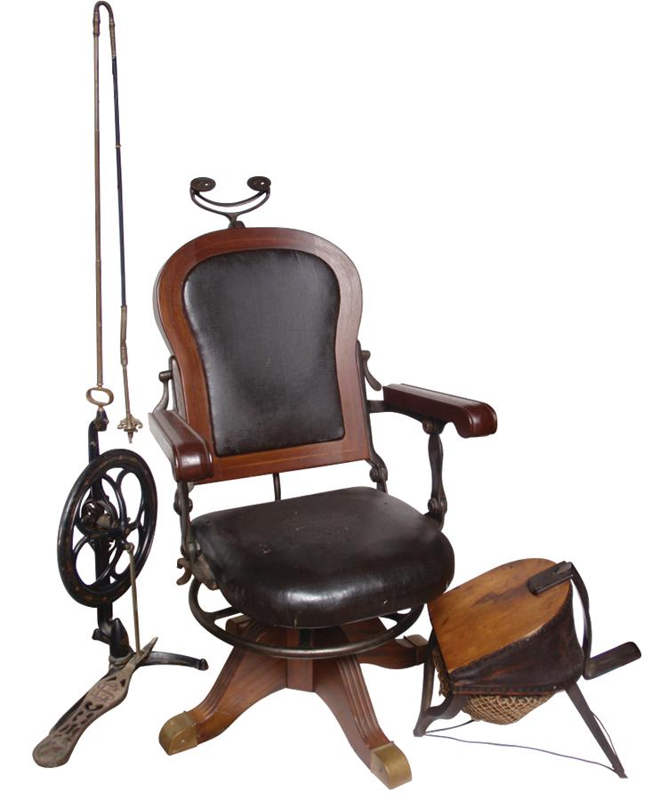 Dentist chair, drill & gas pump, walnut chair w/orig leather upholstery,.  Loading zoom - Dentist Chair, Drill & Gas Pump, Walnut Chair W/orig Leather