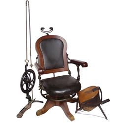 Dentist chair, drill & gas pump, walnut chair w/orig leather upholstery, reclines & swivels, mfgd by