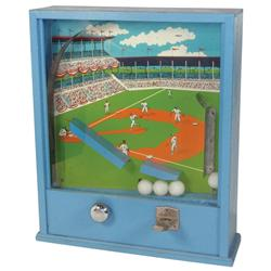 "Coin-operated Baseball machine, 10 Cent, blue wood case w/glass face, Exc cond, 22""H x 18""W."
