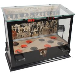 "Coin-operated basketball machine, ""Play Basketball"", 20 shots for 1 Cent, metal & glass case w/metal"