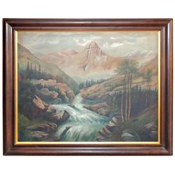 "Oil on canvas, ""Mountain of the Holy Cross"" at Vail Pass, CO, orig wood frame, artist unknown, well"