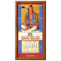 Great Northern Railway Route of the Empire Builder calendar,  c.1939, pictures Blackfeet Brave, Exc