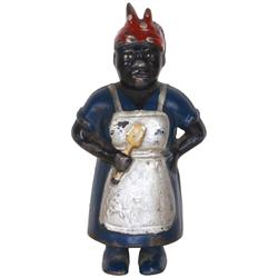 "Black Americana Mammy still bank, cast iron w/great orig paint, Exc cond, 6""H."