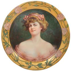 "Victorian charger, beautiful woman in low-cut dress ""Marcelle"", litho on metal, ""Compliments of The"