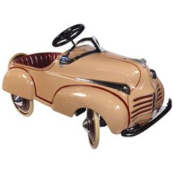 "Child's pedal car, metal body w/cream & maroon paint, a great little car in Exc restored cond, 21""H"