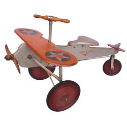 "Child's pedal airplane, ""White Eagle"", wood & steel, #KX 45 on tail wing, c.1940, VG orig cond, 24""H"