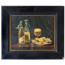 Pabst Blue Ribbon framed litho on paper, pictures bottle of Pabst w/plate of oysters, pre-prohibitio
