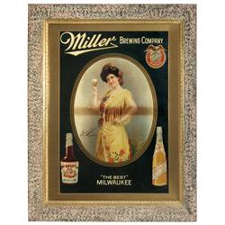 "Miller Brewing Co. sign, beautiful litho on paper showing Madame Calve as ""Carmen"", Miller Malt Extr"