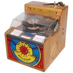 Juke box, Ristaucrat, mfgd by Ristaucrat, Inc.-Appleton, WI, plays a stack of twelve 45s in sequence