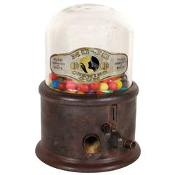 Coin-operated gum vendor, Mo-Jo, Roth & Langley-Brooklyn, NY, c.1915, metal base w/glass dome chippe