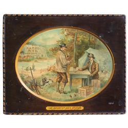 "Kamp's Rye ""The Sportsman's Choice"" self-framed litho on metal by The Meek Co.-Coshocton, O., Kamp D"