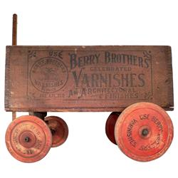Berry Brothers' Varnishes wagon, factory made wooden wagon w/advertising on box & wooden wheels, c.1