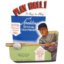 Spaulding Baseball Bats diecut cdbd 3-D easel back store display w/great baseball graphics, VG cond
