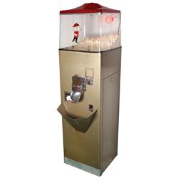 "Coin-operated popcorn vendor, mfgd by True Value Products-Omaha, NE, VG cond, 63""H x 17""W x 17""D."