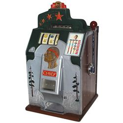 Coin-operated slot machine, Jennings Four-Star Chief, 10 Cent, c.1936-1938, VG orig working cond, 28