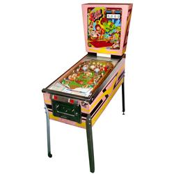 Coin-operated pinball machine, Flying Carpet, Gottlieb, 25 Cent, Genie w/Magic Lantern on back glass