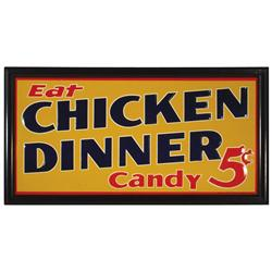 Chicken Dinner Candy sign, litho on embossed metal by Robertson steel & Iron Co.-Springfield, O., ve