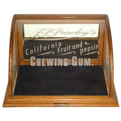 Chewing gum display case for J.P. Primley's California Fruit & Pepsin Chewing Gum, oak case w/curved