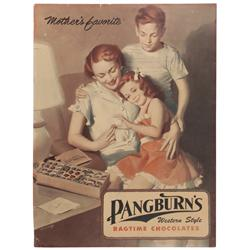 Pangburn's Candy sign, 2-sided seasonal cdbd display from 1941-1942, one side shows man giving lady
