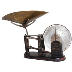 "Wrigley's Chewing Gum counter scale, ""The Wrigley Jr."", cast iron base w/brass pan, c.1900, VG orig"