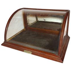 Chewing gum display case, mfgd by J. Riswig, oak curved glass case w/orig metal maker's tag that rea