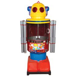 Coin-operated machine, Robot Cotton Candy, deposit 25 cents to make a batch, light up his eyes & pla