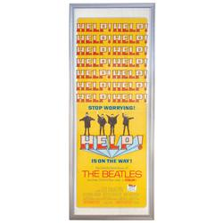 "Beatles movie poster, ""Help"", a c.1965 original, Exc cond, framed, 38""H x 15.5""W."