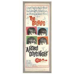 "Beatles movie poster, ""A Hard Day's Night"", a c.1964 original, Exc cond, framed, 38""H x 15.5""W."