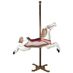 Carousel horse, Parker jumper, hand-carved wooden horse w/glass eyes, fully restored in high-gloss w