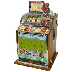 Coin-operated slot machine, Mills Baseball w/baseball reel strips & front mint vendor, 5 Cent, c.192
