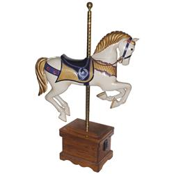 Carousel horse, hand-carved from wood by Darrell D. Williams of Dayton, IA, one of only 6 woodcarver