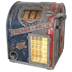 Coin-operated trade stimulator, Penny Pack, 1 Cent machine w/cigarette reels, missing escutcheon, Go