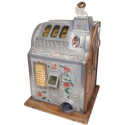 Coin-operated slot machine, Mills Poinsettia, 5 Cent w/free play feature reel bundle, c.1928, Good o