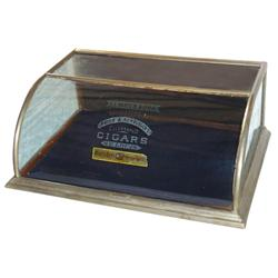 Cigar advertising showcase, J.I. Mayer & Bro. Celebrated Cigars-St. Louis etched on curved glass fro