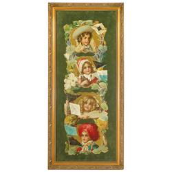 Yard-long diecut 4-season calendar from Grand Union Tea Co., c.1905, beautiful Victorian children in