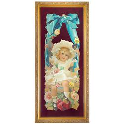 Yard-long diecut calendar from Grand Union Tea Co., c.1906, Victorian girl in swing surrounded by fl