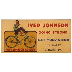 Iver Johnson Bicycle agency sign, litho on cdbd by Am. Transparency Co.-NY, from J.N. Harry-Berwick,