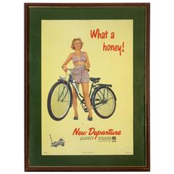 Bicycle litho on paper for New Departure Safety Brakes-A Product of GM, shows pretty 1940's girl w/h