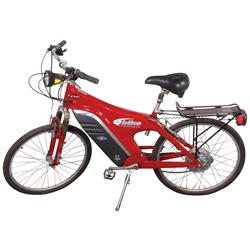 "Bicycle, EV Global Motors Co. battery powered bicycle w/luggage rack, red & black, VG cond, 43""H x 6"