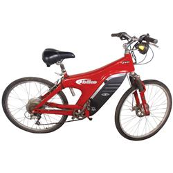 "Bicycle, EV Global Motors Co. battery powered bicycle, red & black, VG cond, 43""H x 64""L w/25"" Dia w"